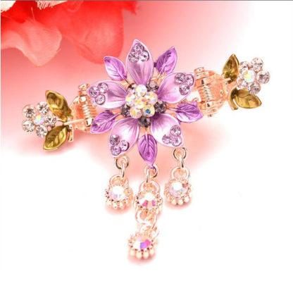 Purple Painted 5 Petal Flower Metal Hair Clip Claw