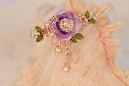 Purple Painted Rose Flower Metal Hair Clip Claw