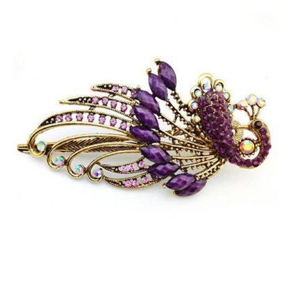 Purple Peacock Hair Clip