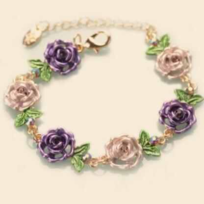 Purple Painted Flower Metal Braclet Chain