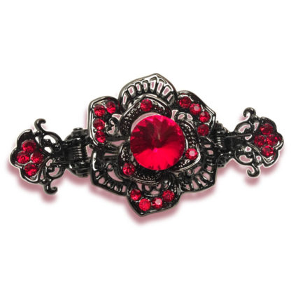 Red Rose Black Metal Hair Claw Clip