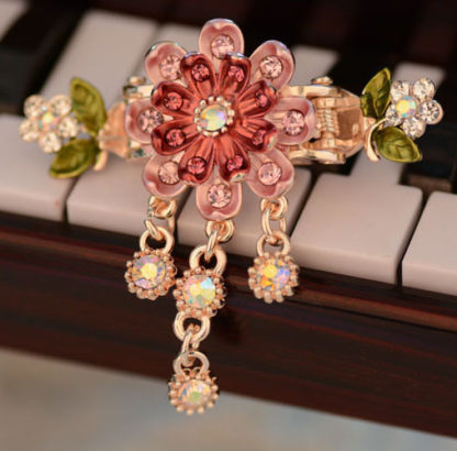Pink Eight Petal Painted Hair Claw Clip