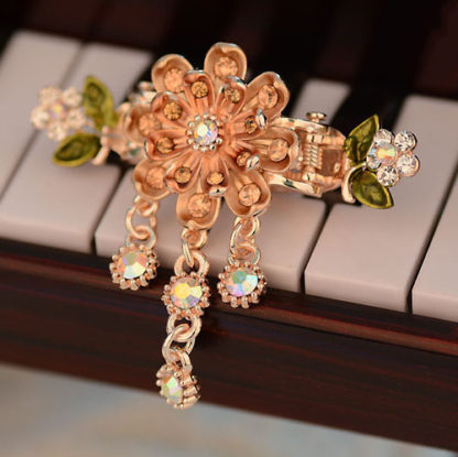 Brown Eight Petal Painted Hair Claw Clip