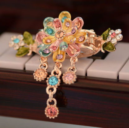 Multi-Color Eight Petal Painted Hair Claw Clip