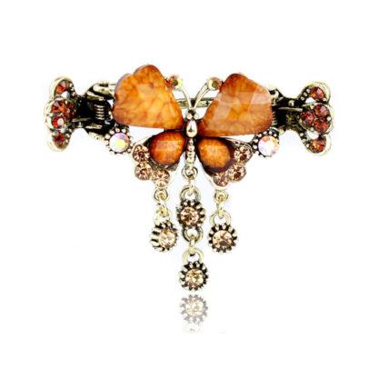 Brown Retro Rhinestone Butterfly Shaped Hair Claw Clip