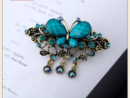 Blue Rhinstone Butterfly Hair Barrette Metal