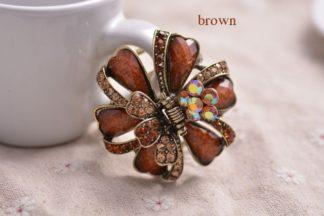Brown Ribbon Flower Hair Claw Metal