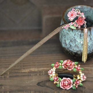 Pink Set Open Center Painted Rose Flowers Hair Barrette and Wooden Hair Pin