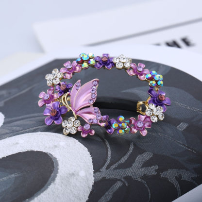 Purple Painted Butterfly Open Center Hair Barrette