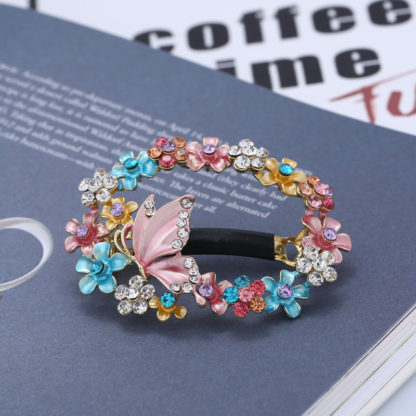 Multi-Color Painted Butterfly Open Center Hair Barrette
