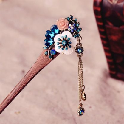 Blue Resin Flower Wooden Hairstick with Colored Jewels