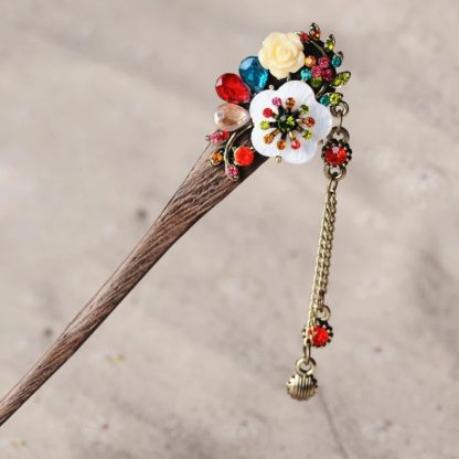 Multi Resin Flower Wooden Hairstick with Colored Jewels