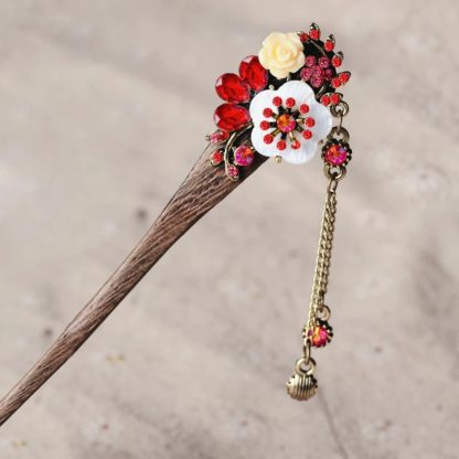 Red Resin Flower Wooden Hairstick with Colored Jewels