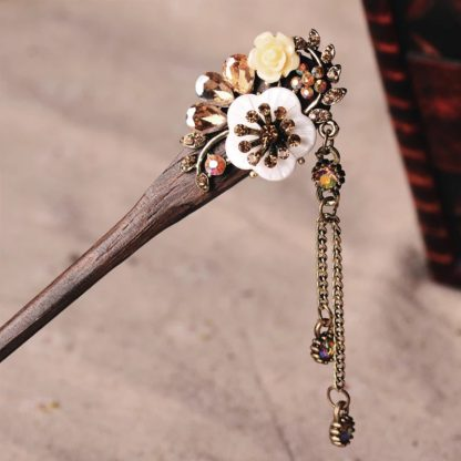 Brown Resin Flower Wooden Hairstick with Colored Jewels
