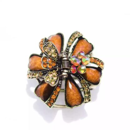 Brown Ribbons and Flowers Hair Claw
