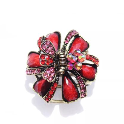 Red Ribbons and Flowers Hair Claw