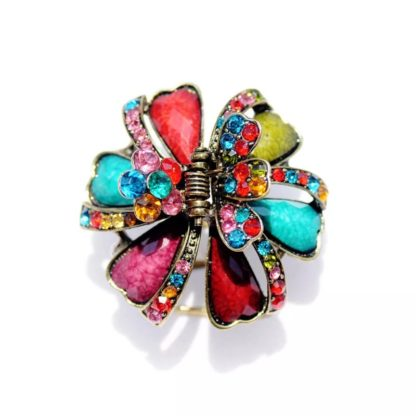 Multi-Color Ribbons and Flowers Hair Claw