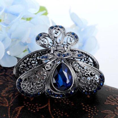Blue Teardrop Rhinestone Metal Fancy Hair Claw Rounded