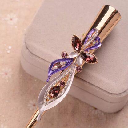 Purple Long Flower Butterfly Alligator Hair Clip