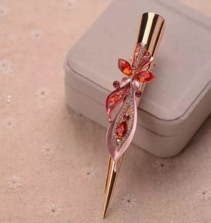 Red Long Flower Butterfly Alligator Hair Clip