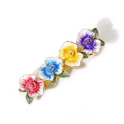 Multi Enameled Four Flower Barrette