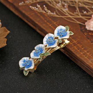 Enameled Four Flower Barrette