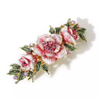 Pink Enameled Metal Flower Barrette