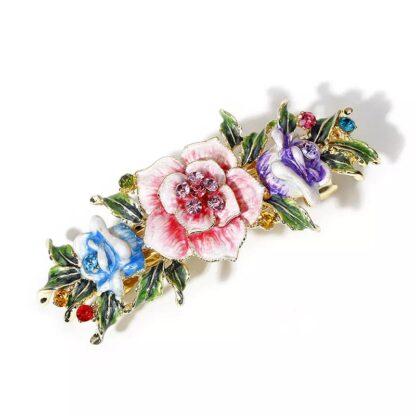 Multi-Color Enameled Metal Flower Barrette