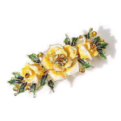 Yellow Enameled Metal Flower Barrette