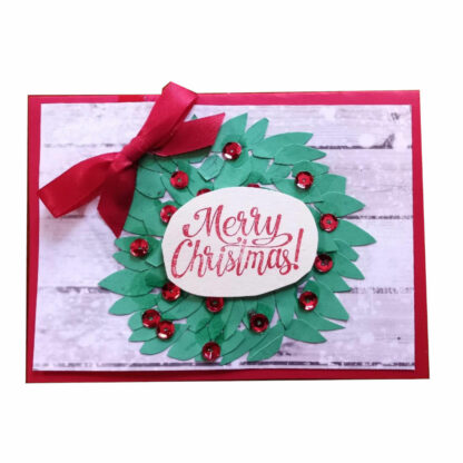 Merry Christmas Wreath Card With Red Bow